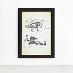 Quadro Vintage Moldura Preta Aviões Antigos 22x32cm
