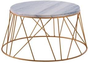 Mesa de Centro Trama 56 cm Aço Dourado /Mármore Branco - Gran Belo