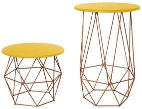 Kit Mesa Lateral + Mesa de Centro Decorativa Eiffel Tampo Amarelo Aramado Bronze