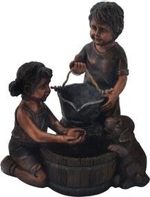 Fonte em Resina Crianças e Cachorro - 56x60x60cm