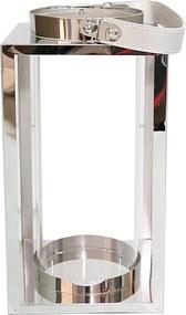 Lanterna Decorativa China Aluminio e Vidro Quadrada com Cilindro Prata D14cm x A23cm
