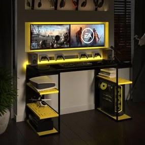 Mesa Gamer P/ Computador C/ Elemento Vazado Metal E Madeira | Tam: 135x60 |Cor: Amarela e Preta
