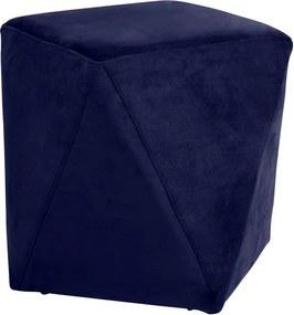 Puff Decorativo Sala de Estar Blois Veludo Azul Bic - Gran Belo