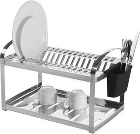 Escorredor Aço Inox 16 Pratos com Escorredor de Talheres Plástico Suprema Brinox 2099/116