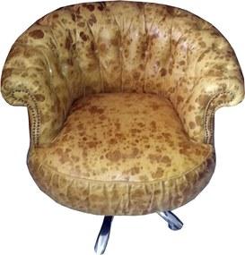 Cadeira Giratória de Couro Bege