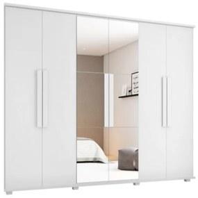 Guarda-Roupa Casal com Espelho 6 Portas 4 Gavetas Canadá Branco - RV Móveis