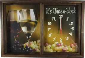 Quadro Art Frame Relógio Porta Rolhas Vinho Decoração Rustico