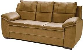 Sofá Com Fibra No Encosto Apogeu 3 Lugares Tecido Suede Castor - Umaflex