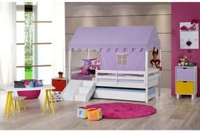 Bicama Infantil Prime com Grade de Proteção, Telhado Lilás e Kit Escada/Escorregador - Casatema