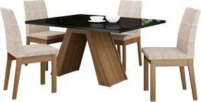 Sala de Jantar Madesa Ayla Mesa Tampo de Vidro com 4 Cadeiras Preta/Bege