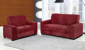 Conjunto De Sofá Colômbia 3 E 2 Lugares Tecido Suede Amassado Vermelho - Moveis Marfim