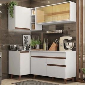 Cozinha Completa de Canto Madesa Reims 262001 com Armário e Balcão Branco Cor:Branco