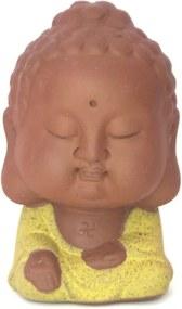 Estátua Monge Tibetano Cabeçudo em Cerâmica (9cm) - Amarelo Cádmio