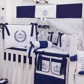 Kit Berço Padroeira Baby Coroa Azul Marinho
