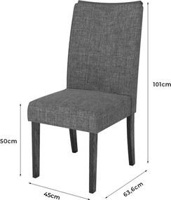 Kit 2 Cadeiras Neus Estofada Linho Claro / Rústico Malbec