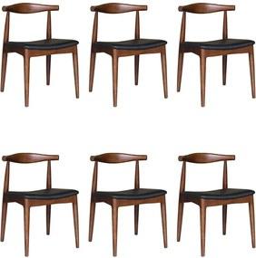 Kit 6 Cadeiras Decorativas Sala e Escritório Nami Madeira Tabaco - Gran Belo