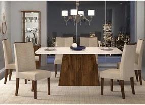 Mesa de Jantar Paris Canto Curvo 170cm Rústico Malbec Off White + 6 Cadeiras Lucila Linho Saara