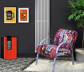 Poltrona Denver Decorativa 1 Lugar Coca Cola Tecido Suede Estampa Colorida 64x97x81 Pé/braço Em Alumínio - Moveis Marfim