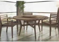 Jogo de Mesa Quarter com 3 Cadeiras em Madeira Maciça Nogueira - Mão &