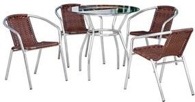Conjunto de Mesa + 4 Cadeiras C/ Fibra Sintética Para Área Externa