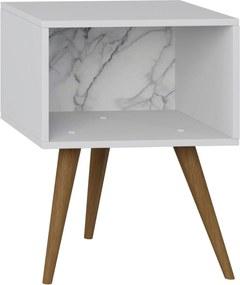 Mesa de Cabeceira Branco/Carrara Be Mobiliário