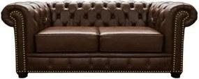 Sofá Chesterfield de Couro 2 Lugares - Marrom Bicolor - Mempra