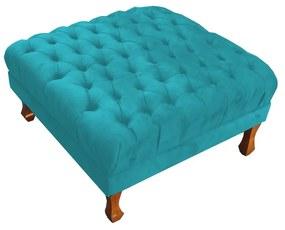 Puff Quadrado Retrô 70 x 70 cm Pés Luiz XV Suede Azul Tiffany