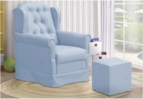 Poltrona de Amamentação com Balanço e Puff Lívia Corino Azul - Fratello