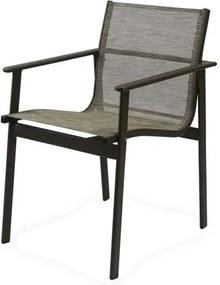 Cadeira Solano Assento em Tela Sintetica cor Cinza com Base Aluminio - 44545 Sun House