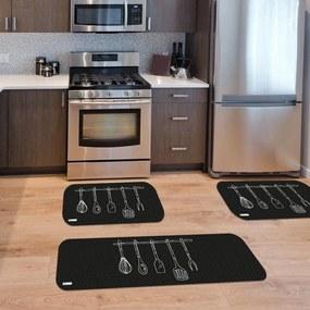 Kit com 3 Tapetes de Cozinha Mdecore Utensílios Preto Único