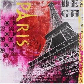 Tela Impressa Eiffel Vermelho e Rosa