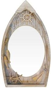 Espelho Kasa Ideia de Madeira Barco Marrom