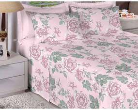 Jogo De Cama Solteiro Estamparia -Premium Plus Rosa Claro