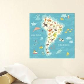 Adesivo Mapa Infantil América Do Sul