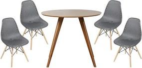 Conjunto Mesa Square Redonda Bétula 88cm + 4 Cadeiras Eames Colméia Preta