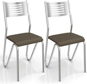 Kit de Cadeiras com 2 Unidades para Copa, Cromada, Marrom, Napoleão III