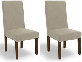 Kit 2 Cadeiras CAD110 para Sala de Jantar Walnut/Bege - Kappesberg