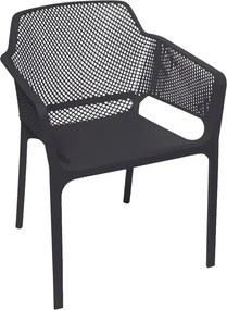 Cadeira Madeline Beta em Polipropileno C/ Braço Preto
