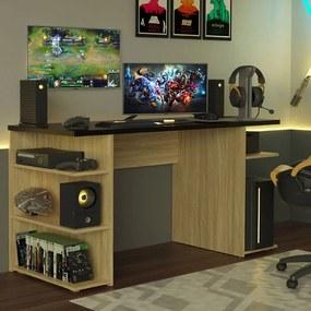 Mesa para Computador Gamer Madesa 9409 Carvalho/Preto Cor:Carvalho/Preto