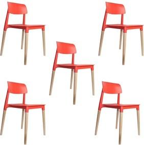 kit 5 Cadeiras Decorativas Sala e Cozinha (PP) Viper Vermelha - Gran Belo