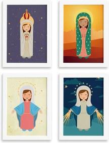 Quadros Nossa Senhora Virgem Maria Mold Branca 33x43 Kit 4un