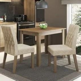 Conjunto Sala de Jantar Madesa Vivi Mesa Tampo de Madeira com 2 Cadeiras Rustic/Imperial Cor:Rustic/Imperial