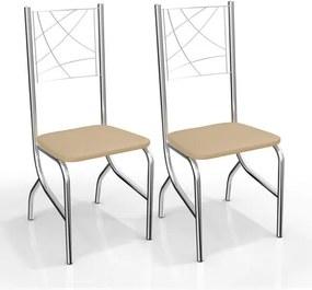 Kit com 2 Cadeiras para Copa, Cromada, Nude, Varsovia III