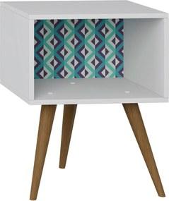 Mesa de Cabeceira Branco/Estampa Azul Be Mobiliário