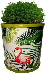 Cachepot Urban Home de Cerâmica Verde Redondo Green Leaves 40392 n