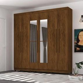 Guarda Roupa Elegance 6 Portas Com Espelho Imbuia - Vila Rica