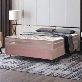Cama Box Casal Manhattan com Molas Ensacadas 138x188x61cm - Rose