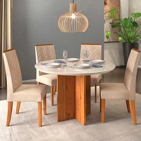Mesa de Jantar Aura Tampo Redondo Rústico Terrara Off White + 4 Cadeiras Laura Linho Claro
