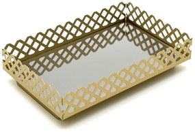 Bandeja Lavabo Decorativa Espelhada Retangular Plataforma Decoração Dourada