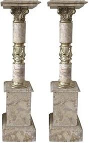 Par de Colunas em Mármore Crema com Apliques em Bronze - 114x28x28cm
